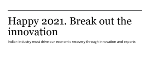 Happy 2021. Break out the innovation