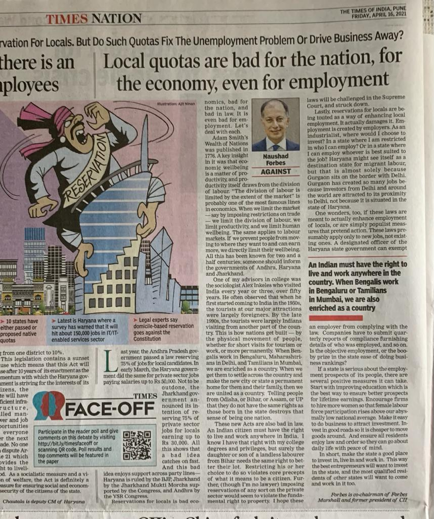 Naushad's column in Business Standard and Times of India