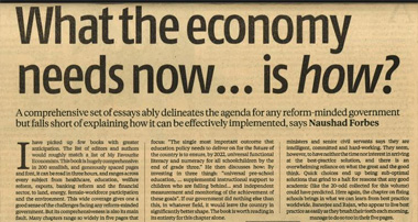 Naushad's book review of 'What the Economy Needs Now'